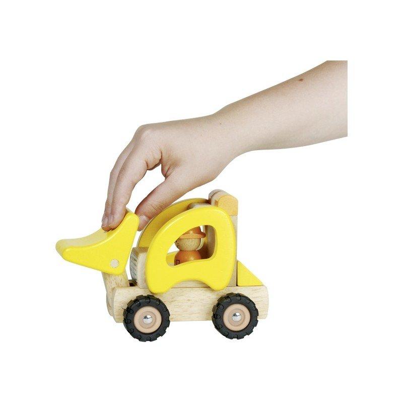 Jouet en bois tracteur chargeur jaune Goki