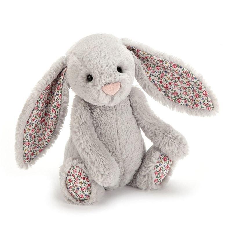 Petit lapin Gris Blossom 18 cm vu de dos par Jellycat
