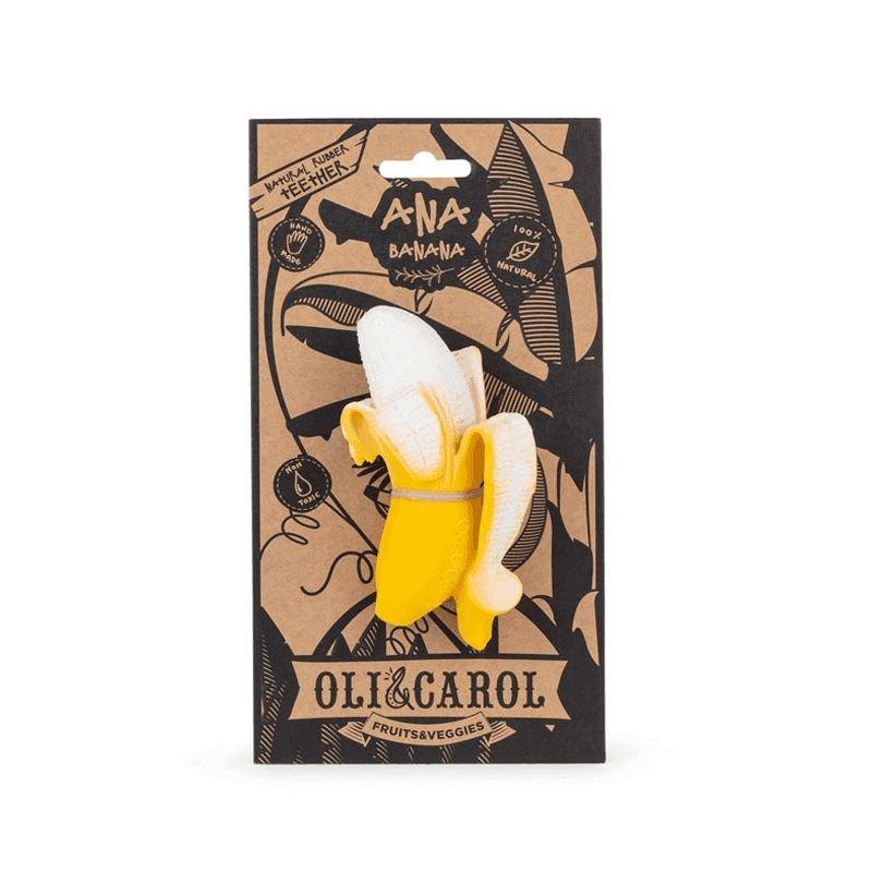 Jouet de dentition en forme de banane en caoutchouc naturel avec packaging