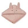Grande cape de bain Lapin rose en coton bio