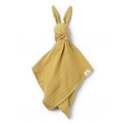 Doudou lapin plat moutarde