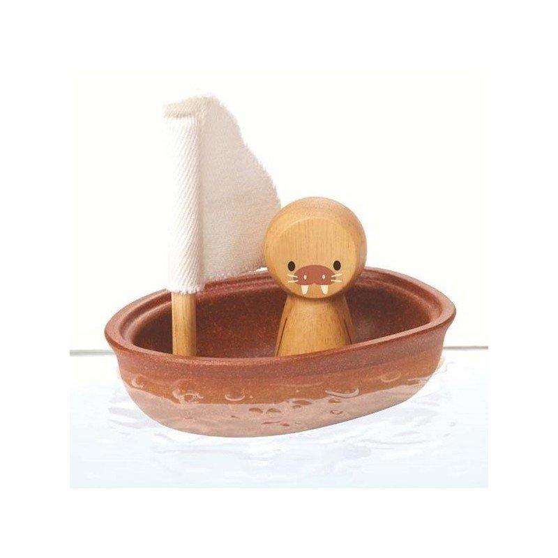 Bateau jouet de bain et son morse en bois Plan toys
