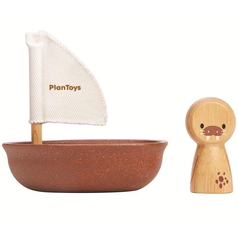 Jouet de bain morse dans sa barque en bois Plan toys