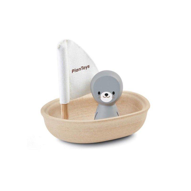 Bateau jouet de bain et son phoque en bois Plan toys