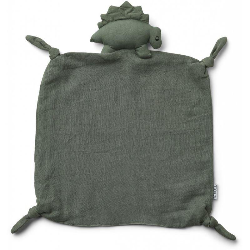 Doudou Lange Dino vert en coton bio
