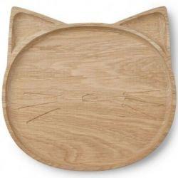 Assiette bois chat