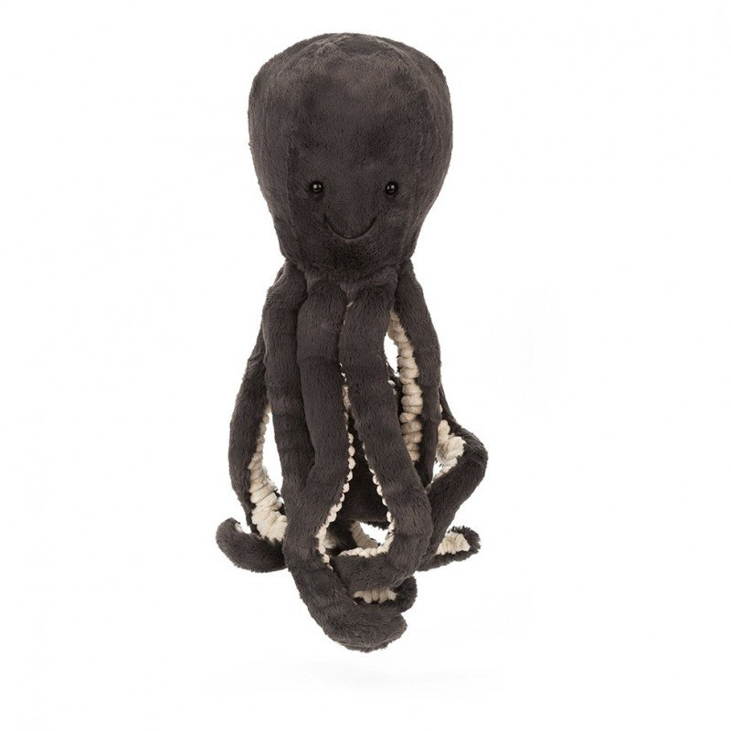 Peluche pieuvre Inky noir 23cm de Jellycat avec ses tentacules