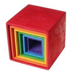 Cube empilable coloré en bois