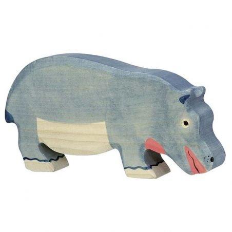 Hippopotame en bois bouche fermée