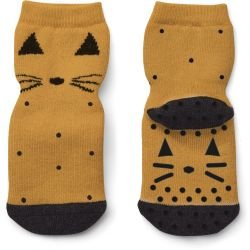 Lot de 2 paires de chaussettes anti-dérapantes chat moutarde