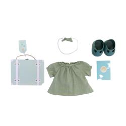 Valise vêtements poupée vert
