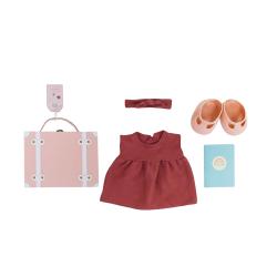 Valise vêtements poupée rose