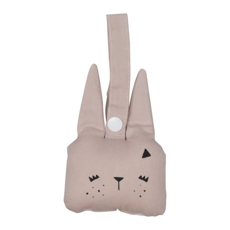 Suspension hochet lapin rose