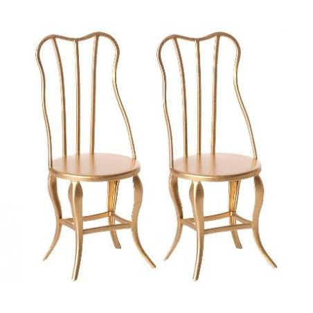Pack de 2 chaises or