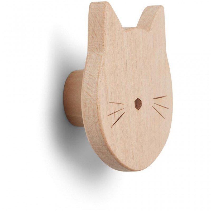 Patère en bois chat par Liewood vu de côté