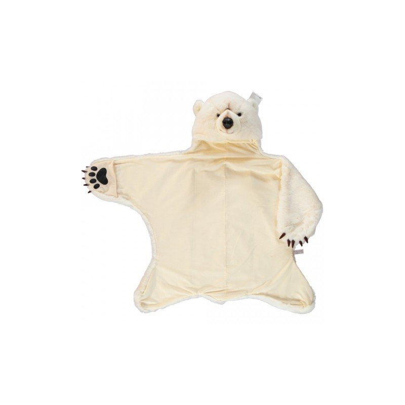 Déguisement et tapis en forme d'ours blanc bras ouvert