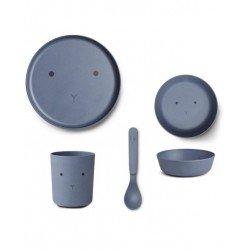 Ensemble de vaisselle bleu en bambou Liewood