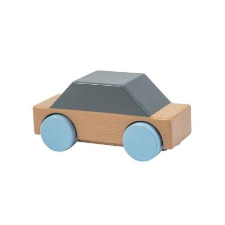 Voiture minimaliste en bois bleu