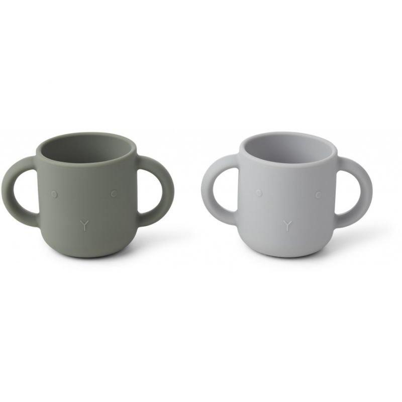 2 Tasses en silicone vert et gris