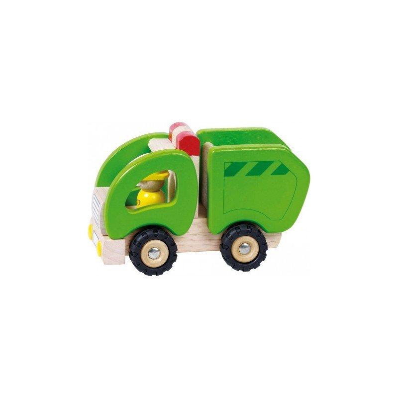 Fonctionnement du camion poubelle en bois