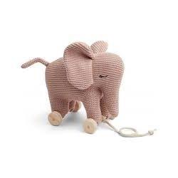 Éléphant à tirer en tricot rose