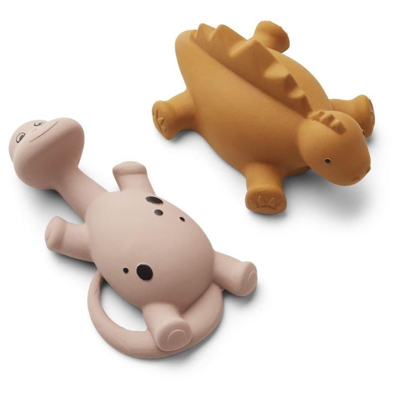 2 jouets pour le bain Dino moutarde et rose