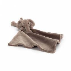Doudou éléphant peluche + carré