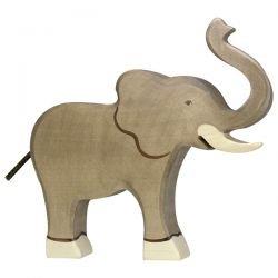 Elephant en bois trompe haute