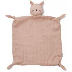 Doudou Lange Chat rose en coton bio