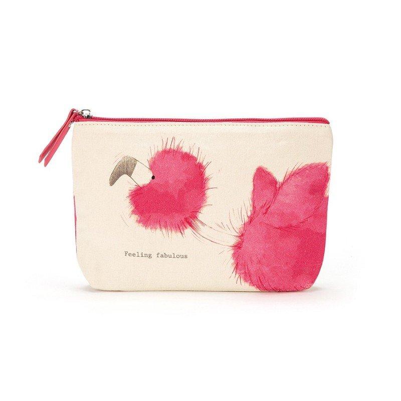 Trousse Flamant rose par Jellycat vu de côté