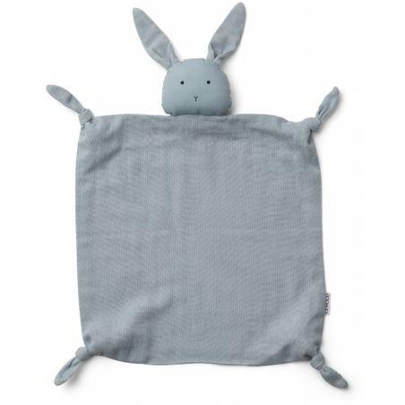Doudou Lange Lapin bleu clair en coton bio