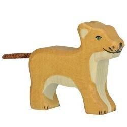 Lionceau debout en bois