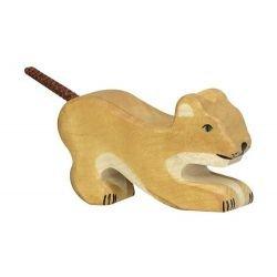 Lionceau jouant en bois