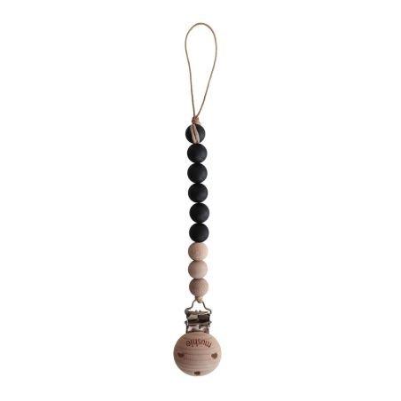 Attache tétine perle Bois et silicone noir