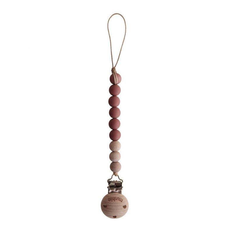 Attache tétine perle Bois et silicone terracotta