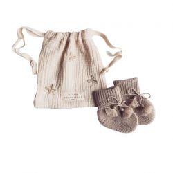 Chaussons tricotés en laine Taupe