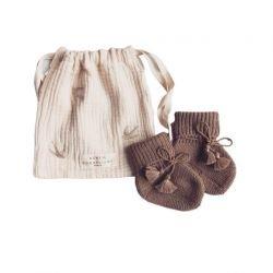 Chaussons tricotés en laine Marron