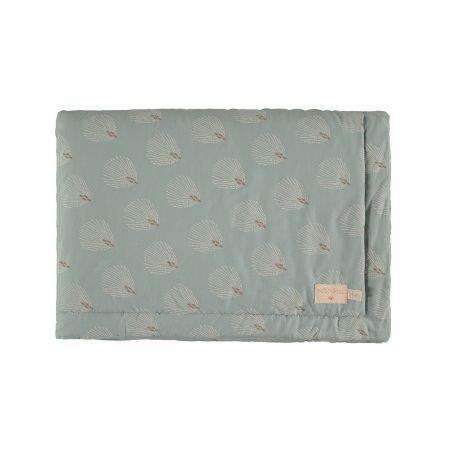 Petite couverture coton Vert Plumes (Gatsby)