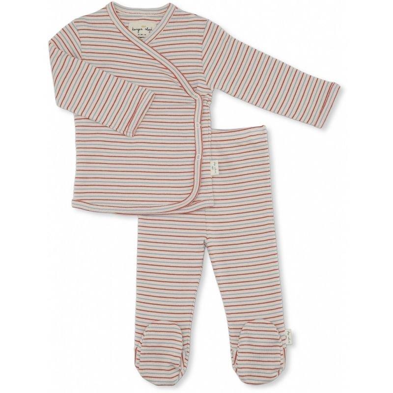 Pyjama rayé rouge et bleu