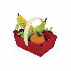 Panier de fruits en feutrine et 8 fruits ganis de mousse