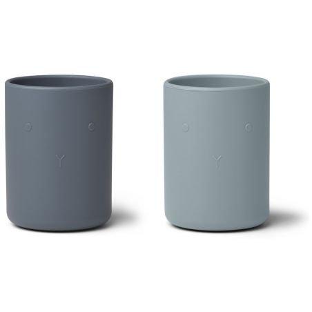 Lot de 2 tasses en silicone Bleu mix