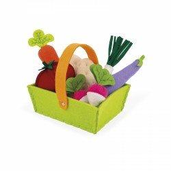 Panier de légumes en feutrine avec 8 légumes garnis de mousse
