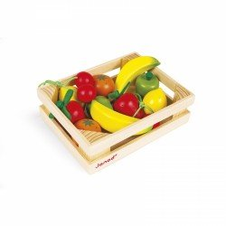 Cagette de 12 fruits en bois pour jouer au marchand