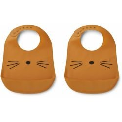Lot de 2 bavoirs silicone chat moutarde