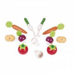 12 légumes en bois pour jouer au marchand