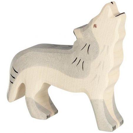 Loup hurlant en bois