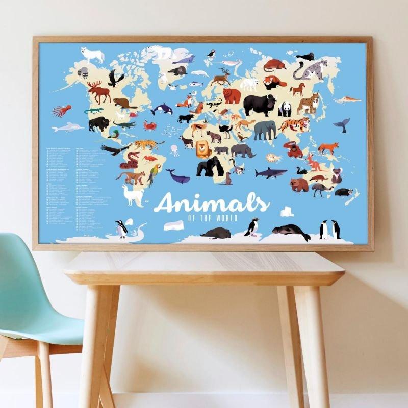Poster Stickers Animaux du monde