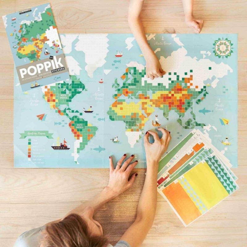 Poster Stickers Carte du monde