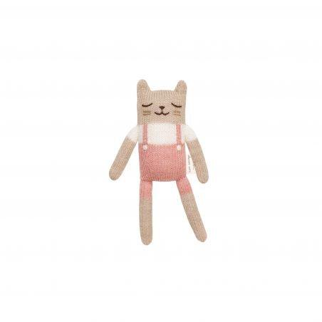 Doudou chaton, salopette rose