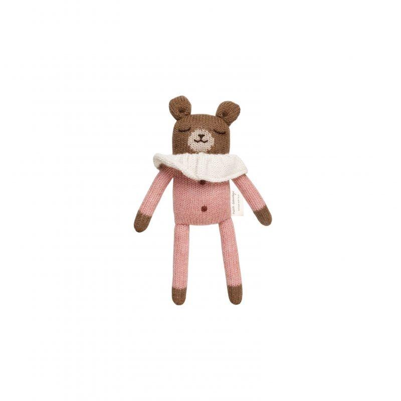 Doudou ourson, pyjama rose - 22 cm